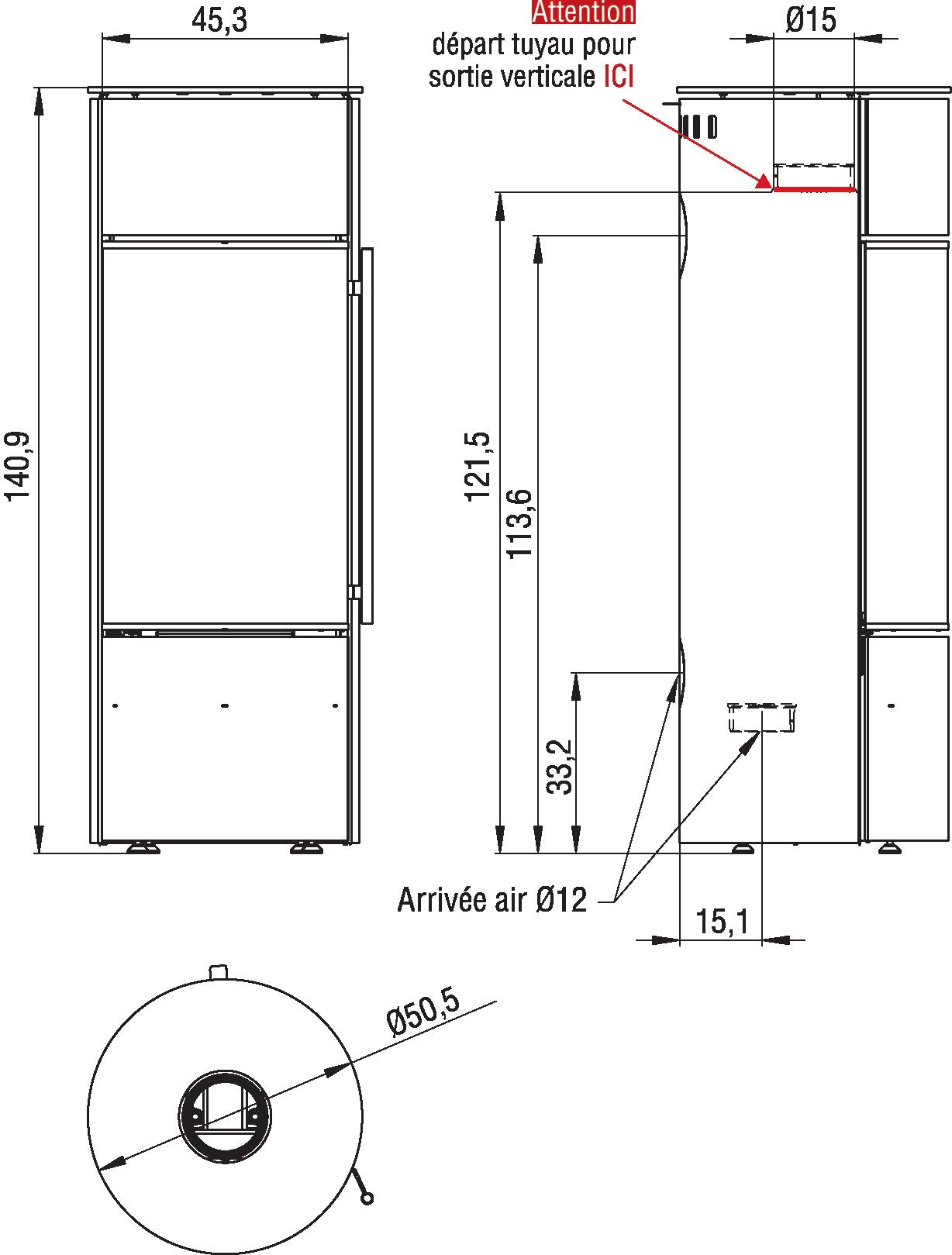 dimensions poêle à bois panama