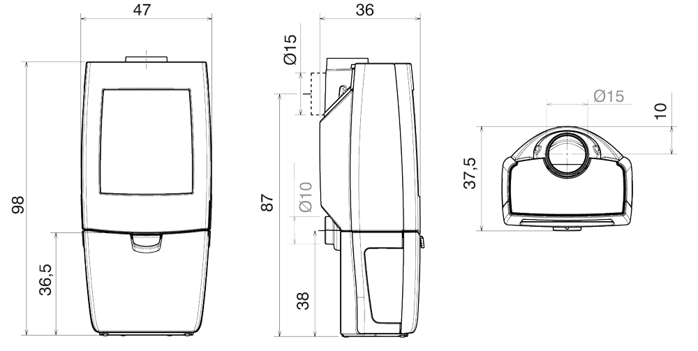 Shéma dimension poêle à bois Kiano 3