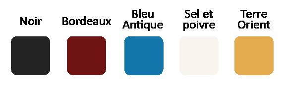 Poêle à granulés disponible en 5 couleurs : Bordeaux, bleu antique, noir opaque, sel et poivre, terre d'orient