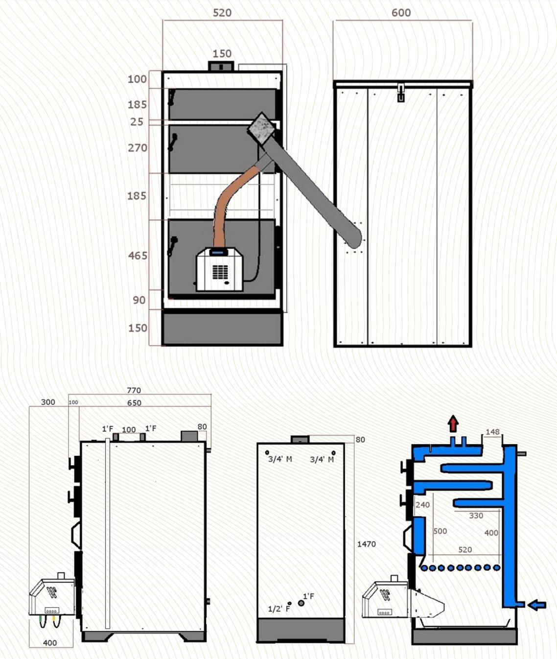 Shémas et dimensions chaudières mixte Eracles Duo, Par PilPoele