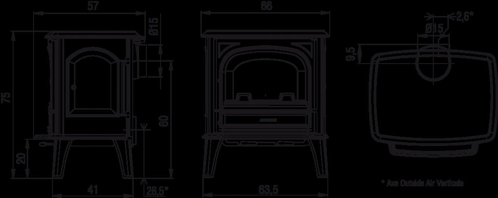 Poêle à bois Heritage shéma et dimensions