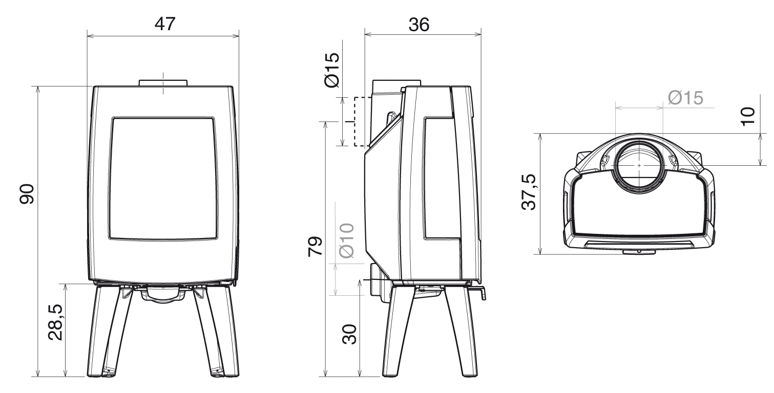 Poêle à bois Kiano 2 avec pieds et vitres latérales