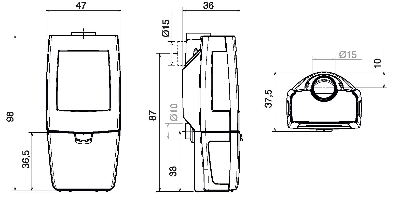 Shéma et dimension du poêle à bois Kiano 4