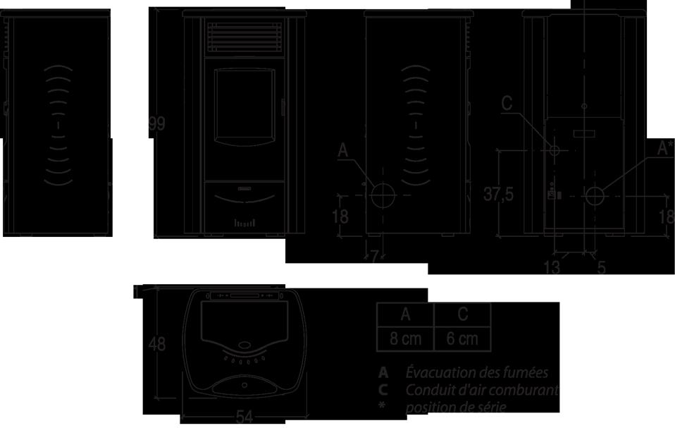 Shéma et dimensions poêle à granulés Monia, Pil'Poêle