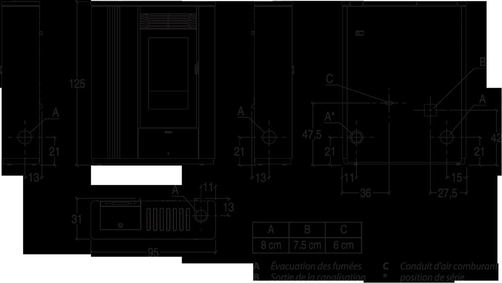 Shéma et dimensions poêle à granulés Rita, Pil'Poêle