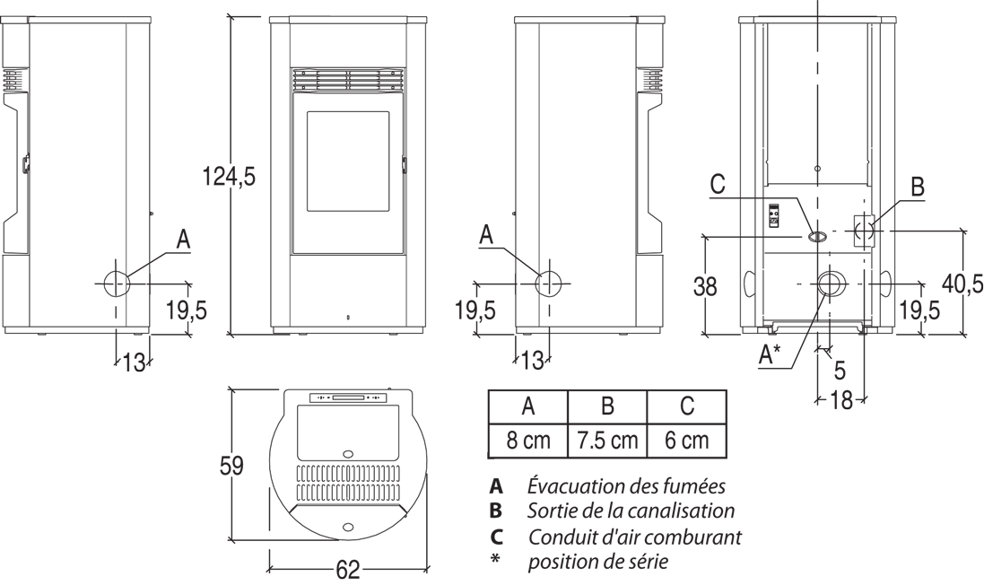 Shéma et dimensions poêle à granulés Solange, Pil'Poêle