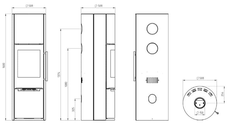 Shéma et dimensions poêle à bois Carla gamme luxe par Pil Poele