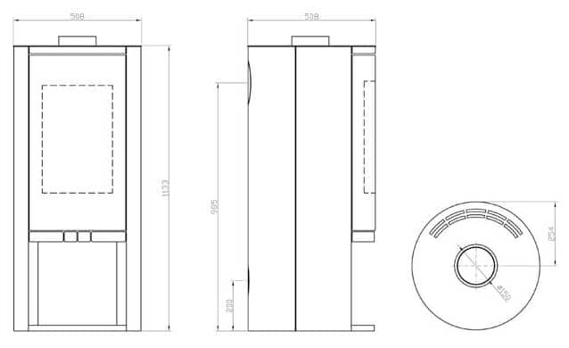 Shéma et dimensions poêle à bois cassandra gamme luxe par Pil Poele