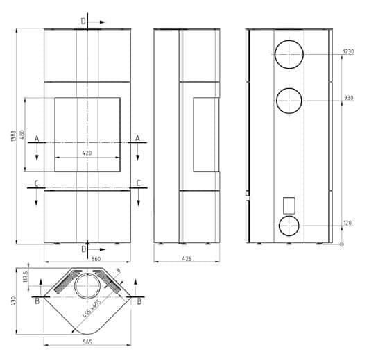 Shéma et dimensions poêle à bois CECILIA gamme luxe par Pil Poele