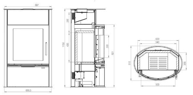 Shéma et dimensions poêle à bois grande bûches Elena gamme luxe par Pil Poele