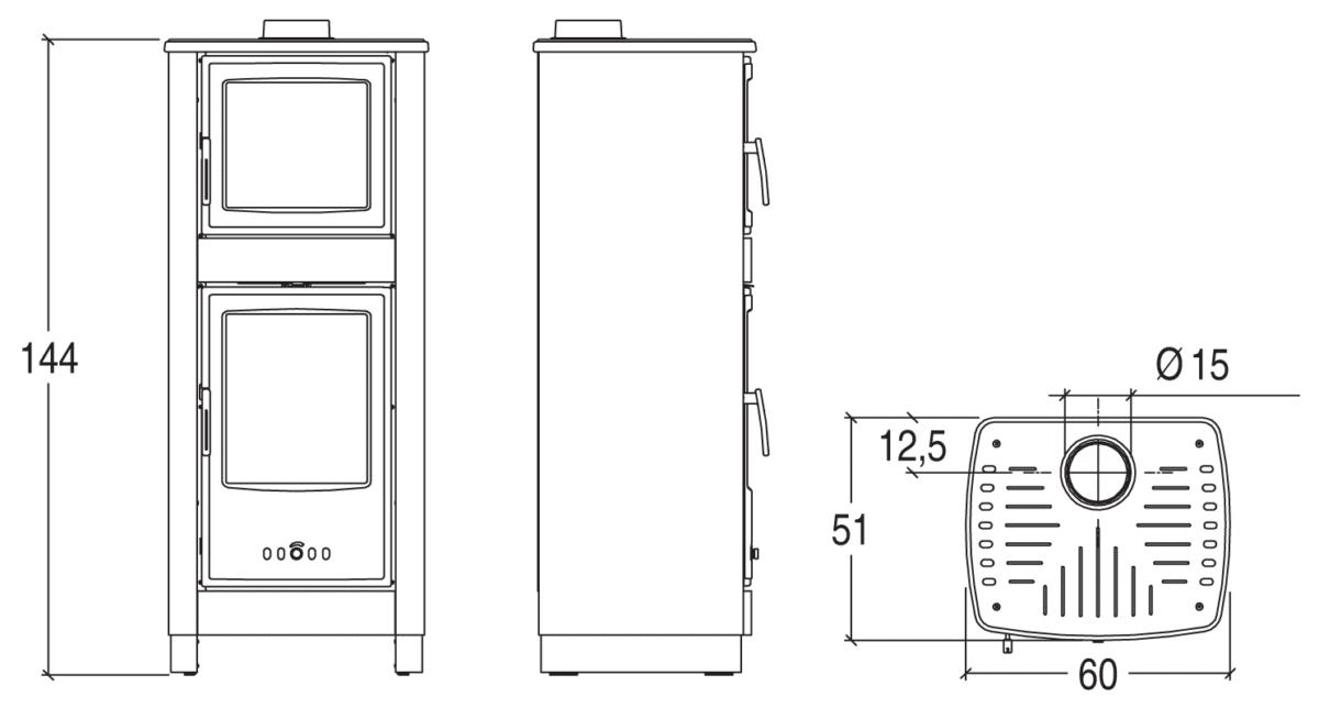 Shéma et dimensions poêle à bois 2 en 1 Savina