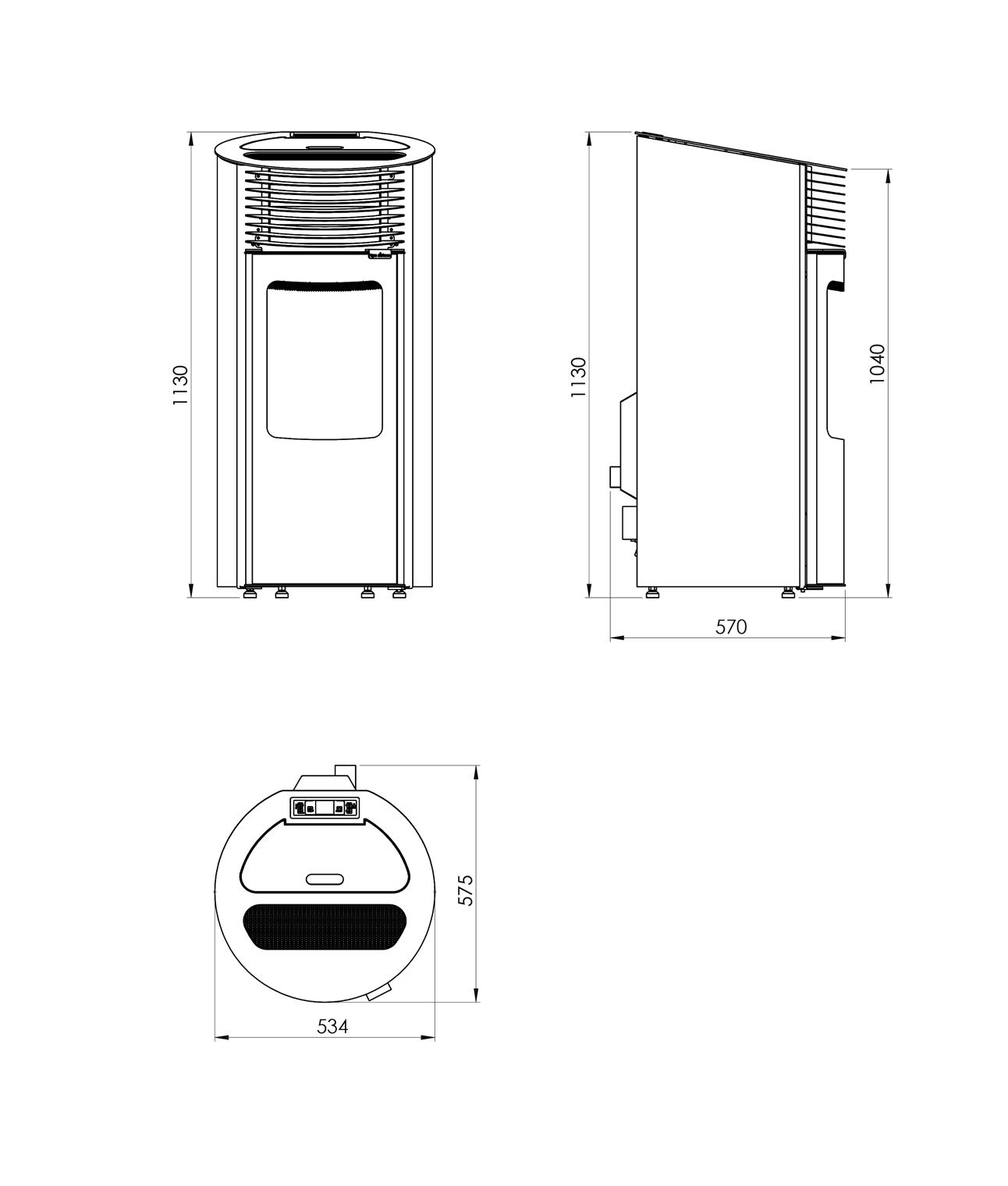 Shéma et dimansions poêle à granulés étanche Verone 8 kW design 2019, Pil'Poêle