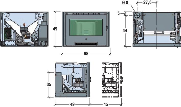 Shéma insert à granulés SCP7- 7 kW