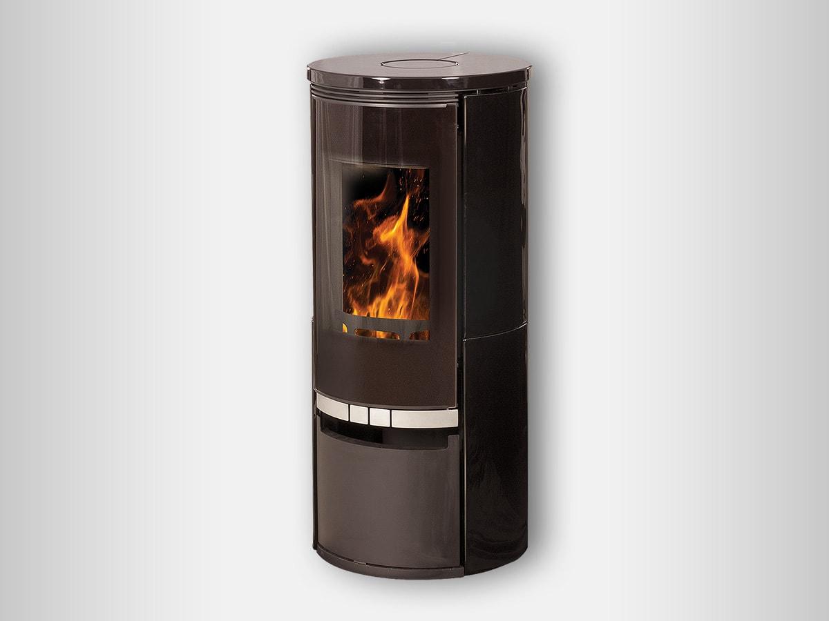 Poêle à bois Cassandra haute qualité en finitions céramique noir