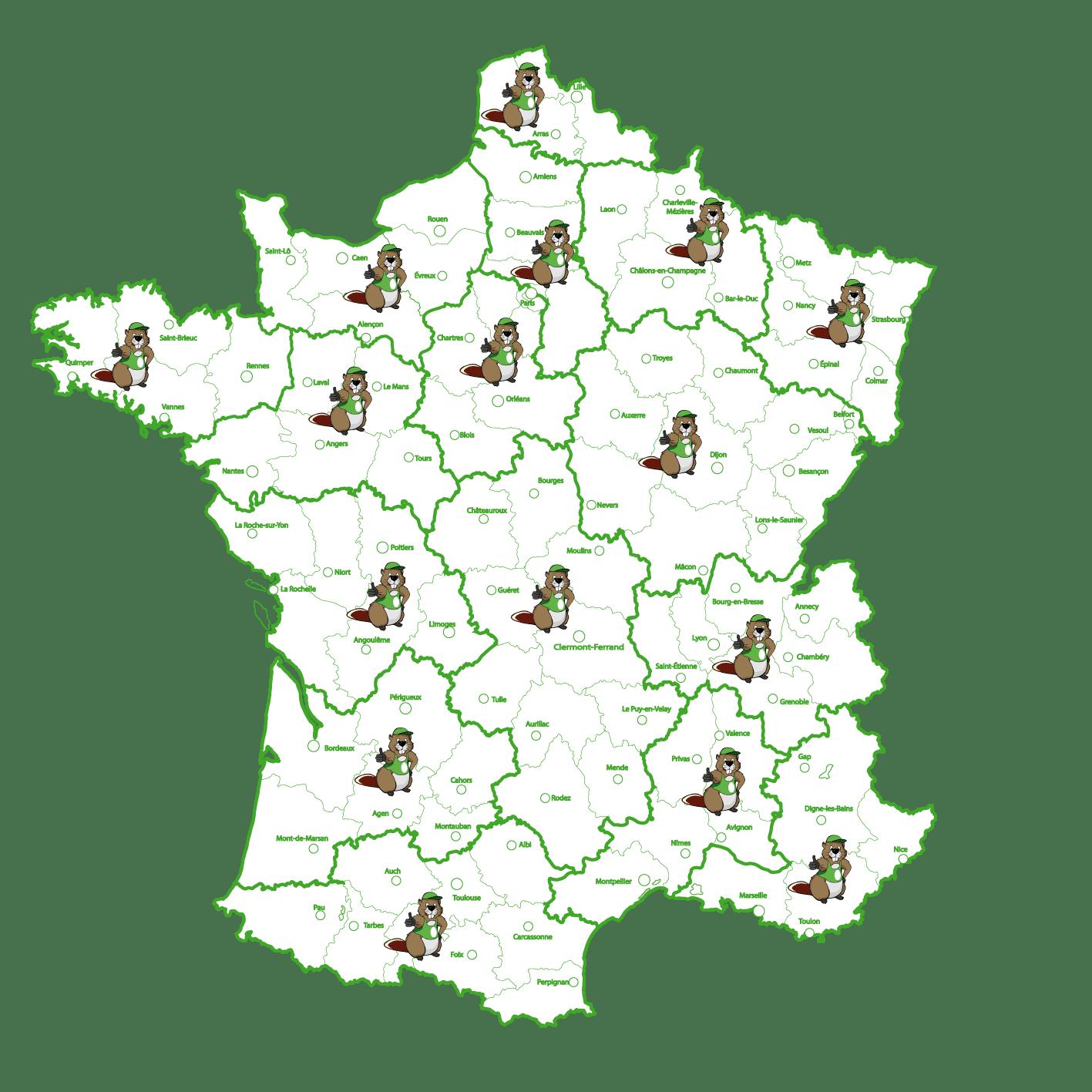 Carte des implantations du réseau de concessionnaires Pil'Poêle